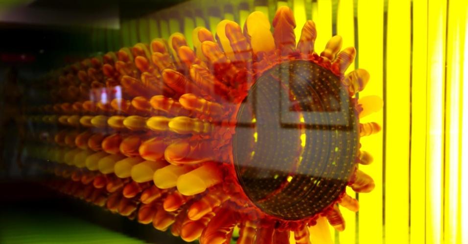 Detalhe da obra 'Flower of life' ('Flor da vida', em português) assinada pelo artista David Datuna. Este trabalho feito com vidro, silicone, luzes florescentes e de LED faz parte do acervo do Musem of Sex de Nova York, nos Estados Unidos