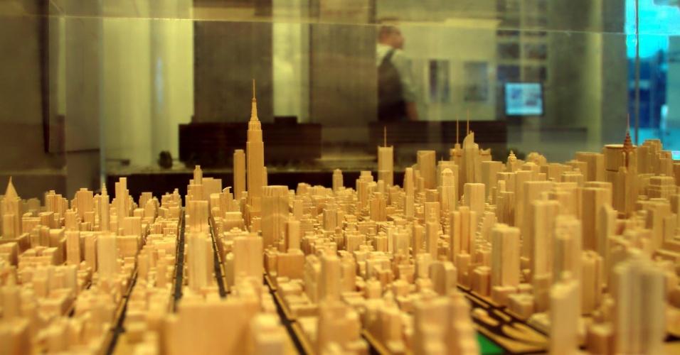 Detalhe de maquete da cidade de Nova York localizada no Skyscraper Museum, museu de Nova York dedicado a arranha-céus de todas as partes do mundo