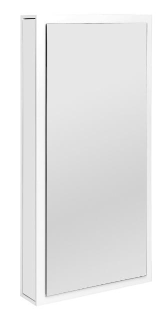 """Reflex é a proposta para a """"penteadeira vertical"""" acoplada a um espelho. O móvel foi desenvolvido por Tailiê Tonetto, Bernardo Montanaro e Pamela dos Santos, de Diadema (SP). O móvel foi um dos finalistas na modalidade Indústria e na categoria Dormitórios da edição 2013 do prêmio Salão Design"""