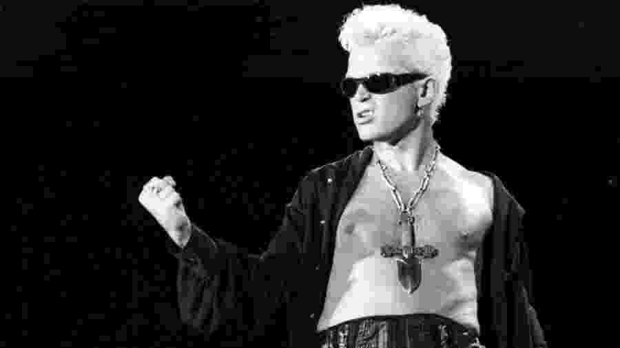 O cantor Billy Idol se apresenta na segunda edição do Rock In Rio, em 1991 - Luciana Whitaker/Folhapress