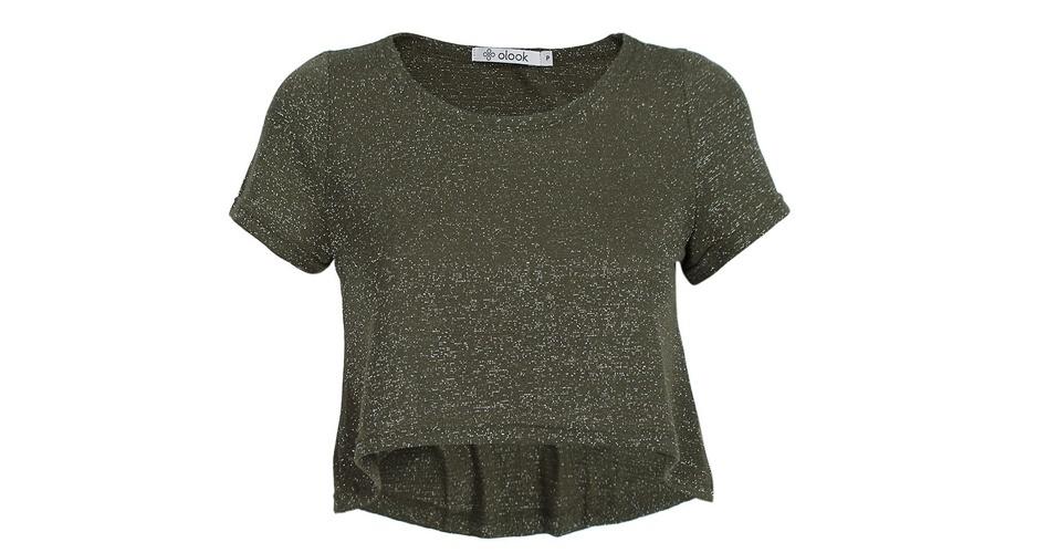 Camiseta curta de lurex; R$ 39,90, na Olook (www.olook.com.br). Preço pesquisado em agosto de 2013 e sujeito a alterações