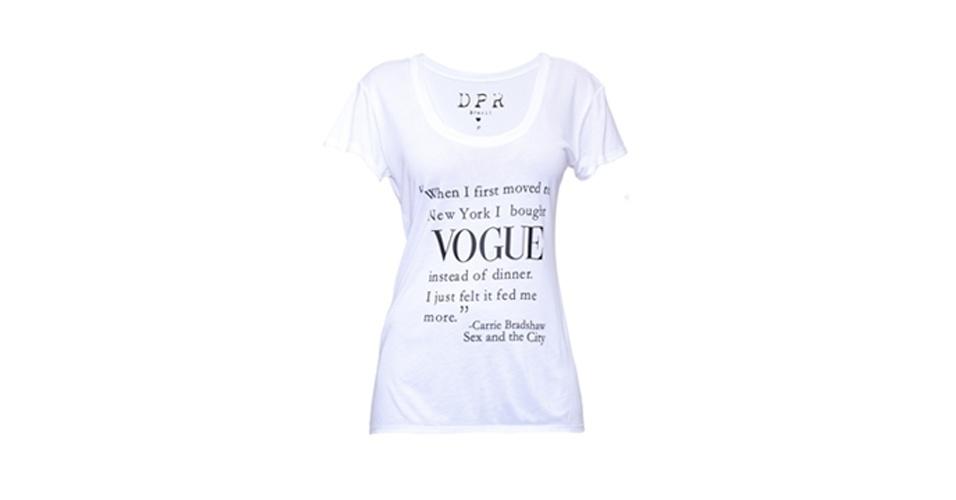 Camiseta Vogue; R$ 125, na The Boutique (www.theboutique.com.br). Preço pesquisado em agosto de 2013 e sujeito a alterações