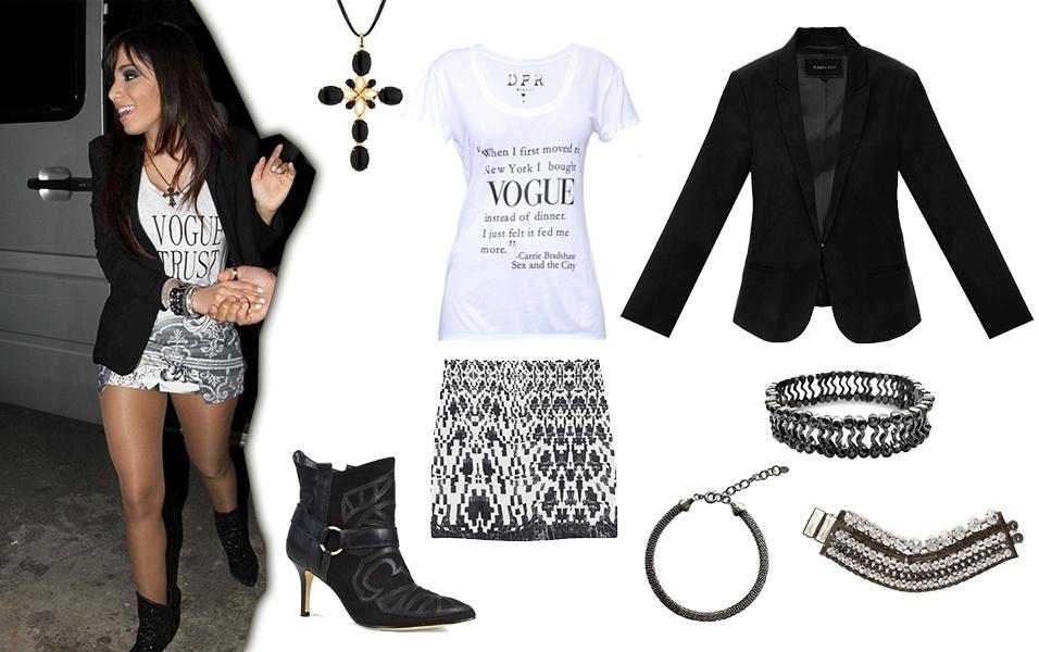 Os looks com camiseta divertida usada com short ou saia curta são os favoritos de Anitta. A cantora ainda investe em acessórios e costuma cobrir o pulso com pulseiras