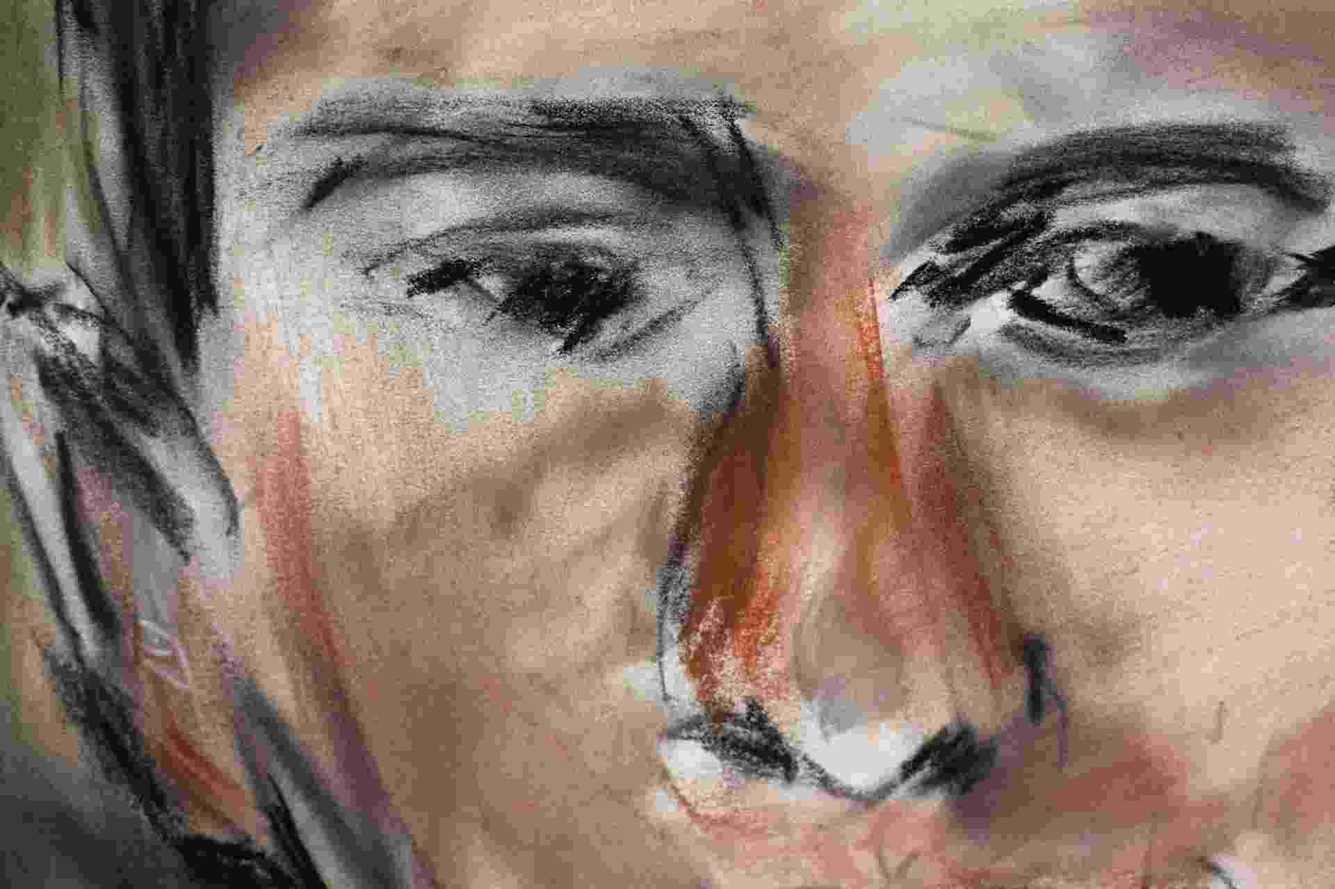 """23.ago.2013 - Obras de Bob Dylan são expostas na National Portrait Gallery de Londres. As peças da """"Bob Dylan: Face Value"""" são feitas em tinta pastel - Neil Hall/Reuters"""