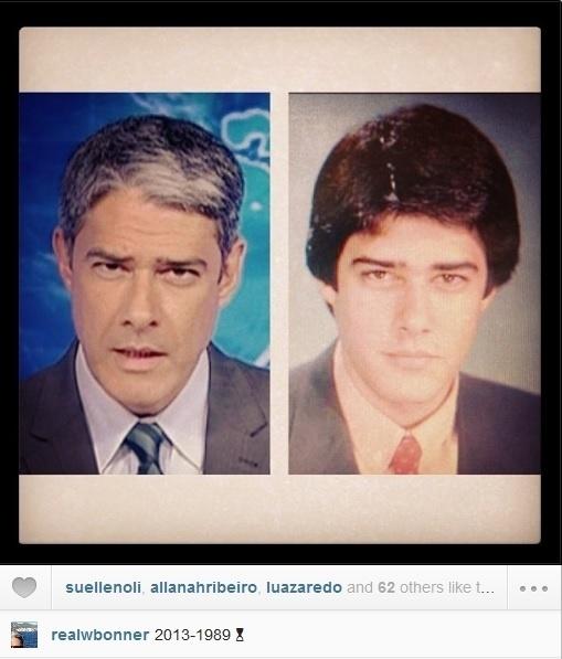 23.ago.2013- Pelo Instagram, William Bonner comparou uma foto sua atual com outra tirada em 1989. Na imagem, ele aparece com o cabelo mais volumoso. Alguns internautas garantiram que ele está melhor agora
