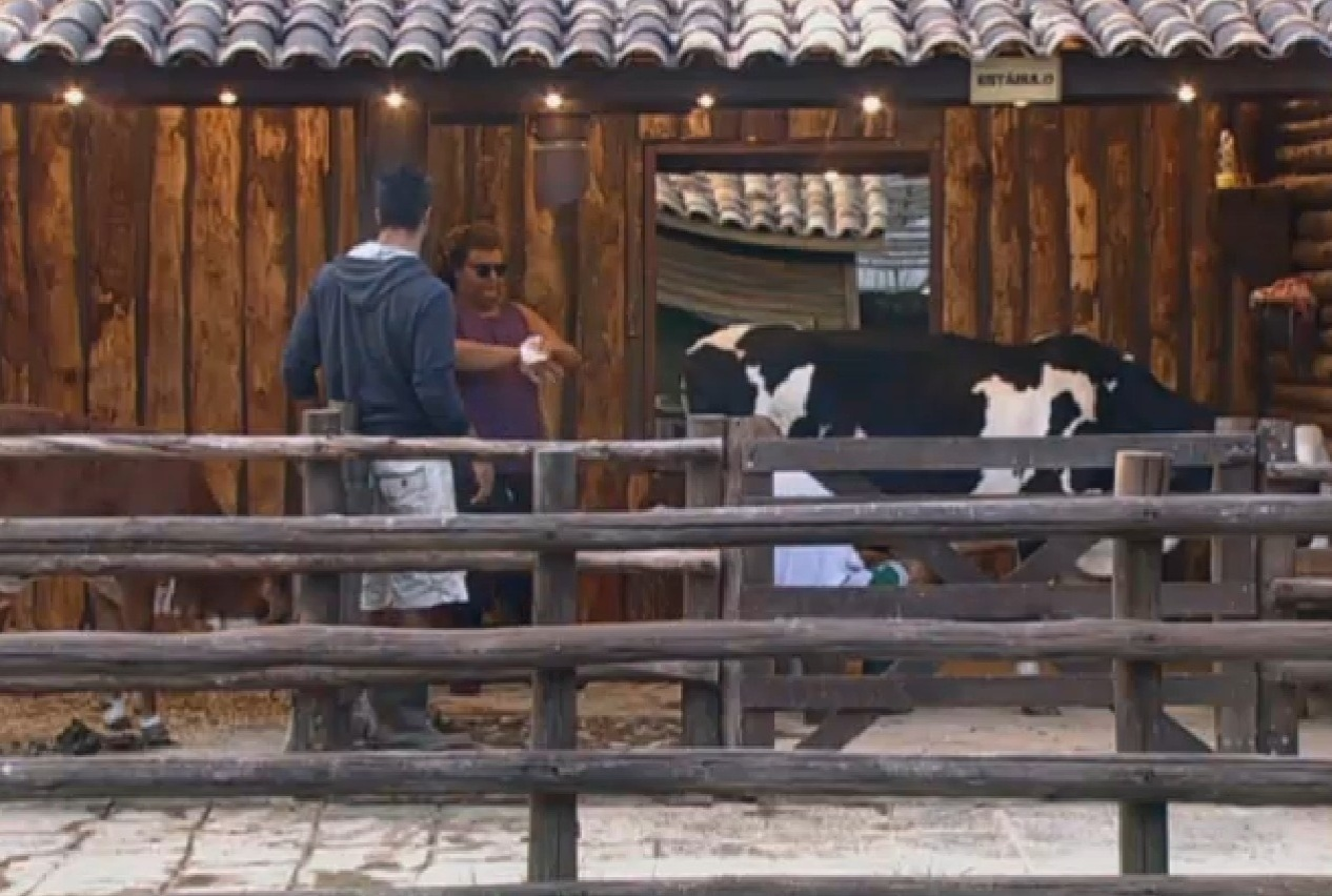 26.ago.2013 - Beto Malfacini, o novo Fazendeiro, fiscalizam Gominho durante sua atividade matinal