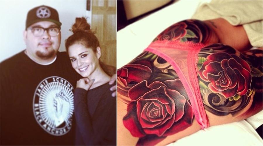 A cantora britânica Cheryl Cole encobriu parte das costas e todo o bumbum com rosas gigantes, feitas pelo tatuador Nikko Hurtado
