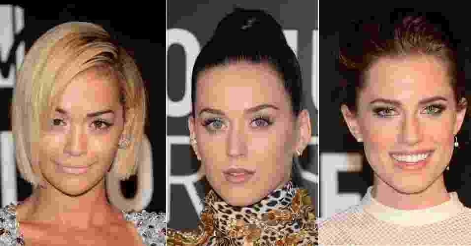 Rita Ora, Katy Perry e Allison Willians apostaram nas tendências claras para o evento da MTV - Getty Images e Montagem/UOL
