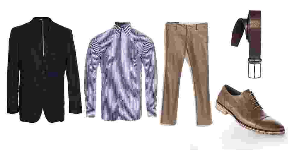 """Uma combinação clássica que o estilo """"smart casual"""" adotou é o blazer azul-marinho usado com camisa listrada e calça cáqui - Divulgação"""