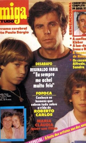 """1980 - Na capa da revista """"Amiga"""" com os filhos Regis e Marcelo"""