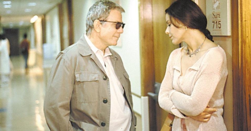 """2001 - Com Ornella Mutti em gravação de """"O Filho Predileto"""", telefilme produzido no Brasil pela Globo, RAI e Columbia"""