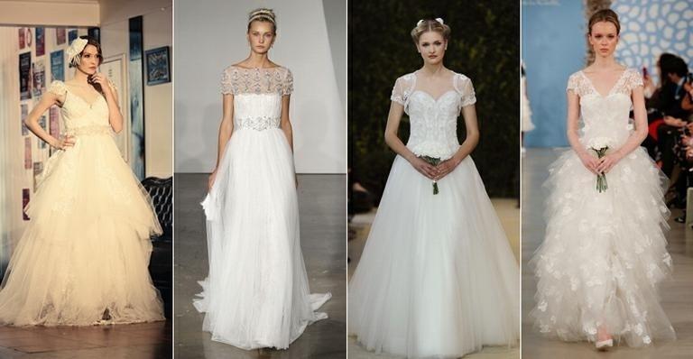 vestidos de noiva de manga curta