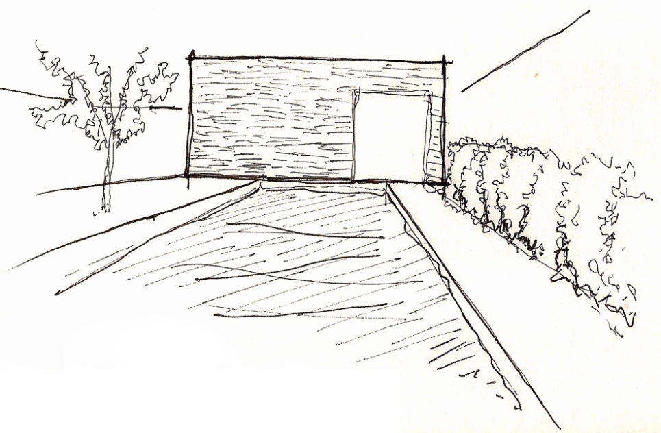 Croqui registra a vista de uma das fachadas internas da Casa Pernambuco. O desenho se centra na ligação entre a piscina e o pano de vidro da sauna, onde há uma passagem subaquática