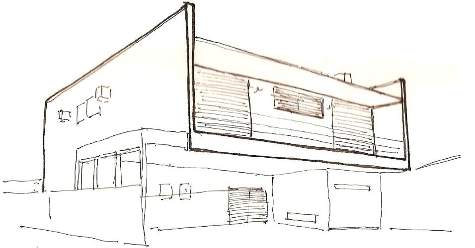 Croqui mostra a fachada frontal da Casa Pernambuco, assinada pelo arquiteto Flavio Castro