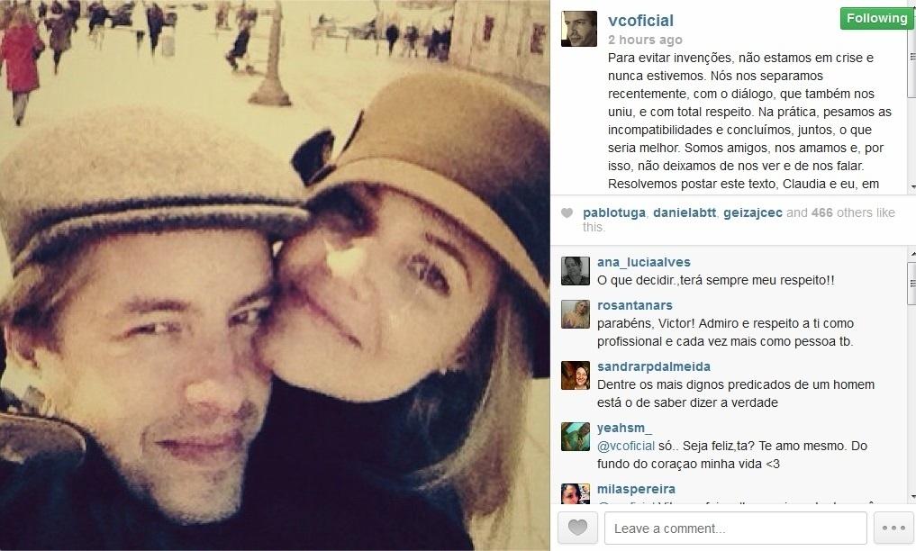 29.ago.2013- Cantor Victor anunciou separação no Instagram