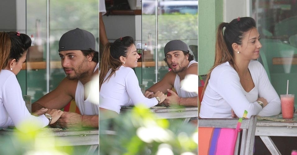 30.ago.2013 - Jesus Luz vai a restaurante acompanhado por morena. O ator e DJ ficou de mãos dadas com a moça enquanto conversava com ela
