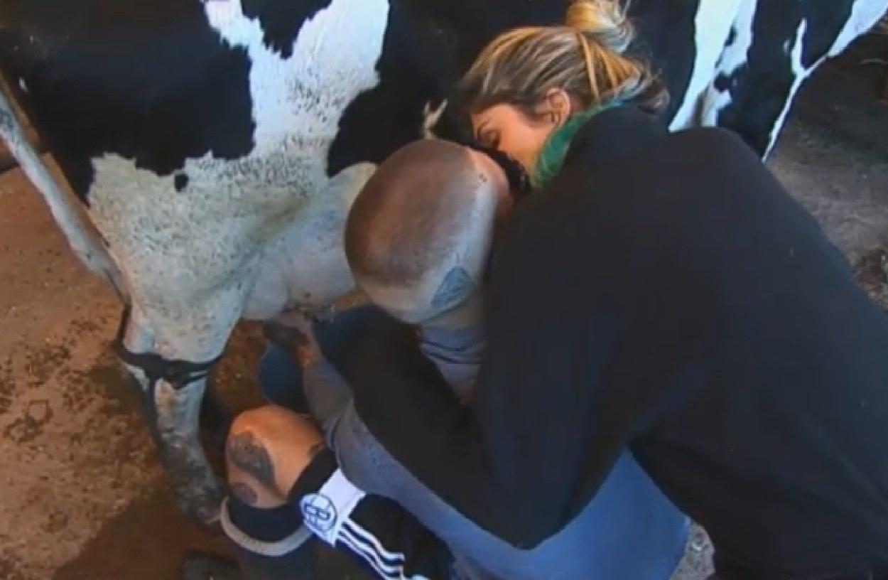 31.ago.2013 - Bárbara Evans beija Mateus enquanto DJ tira o leite da vaca