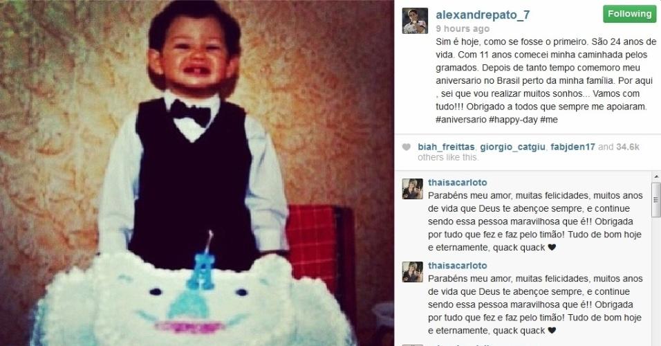 02.ago.2013- Alexandre Pato completa 24 anos e publica foto da infância.