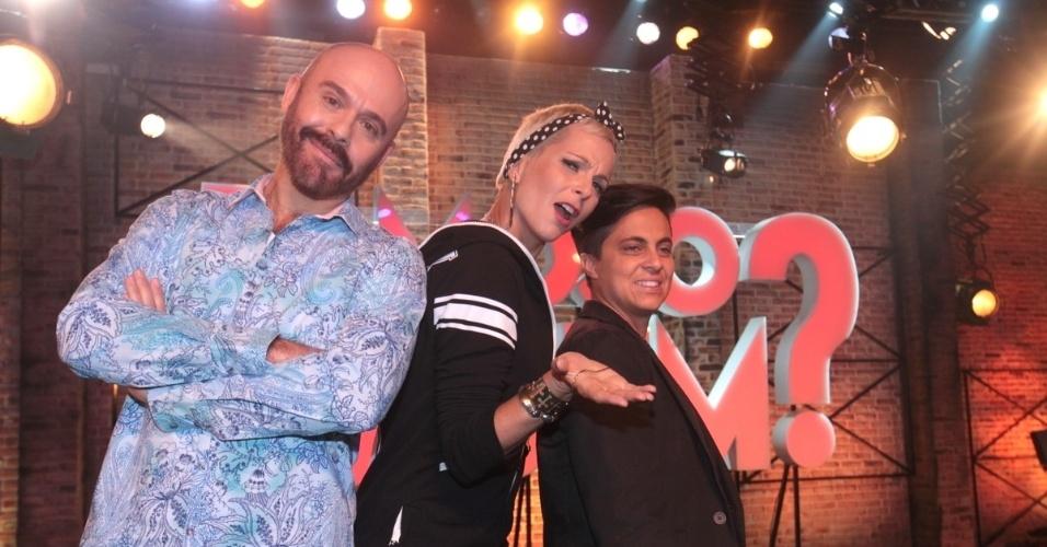 """2.set.2013 - Marcelo Boffat, Bruna Tag e Thammy Miranda participaram do lançamento do reality show """"Famoso Quem?"""" nesta segunda nos estúdios do SBT, em São Paulo. A atração estreia no dia 14 de setembro"""