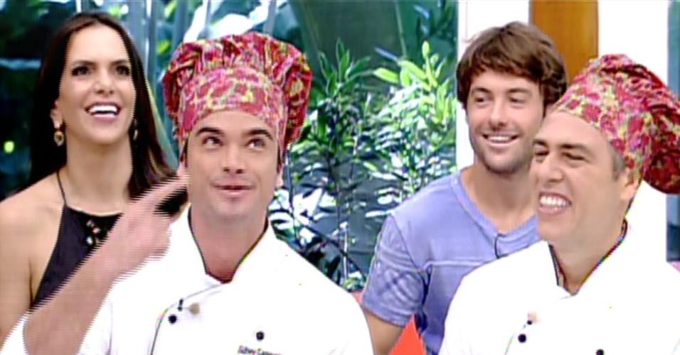 """2.set.2013 - Sidney Sampaio e Anderson Muller, finalistas do """"Super Chef Celebridades"""" 2013 conversam com Ana Maria Braga no """"Mais Você"""""""