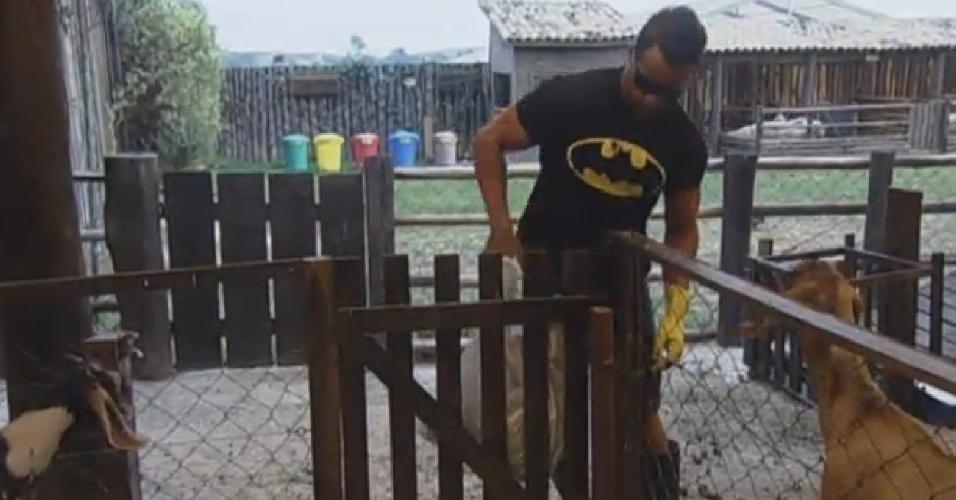 03.set.2013 - Marcos Oliver cuidando das cabras