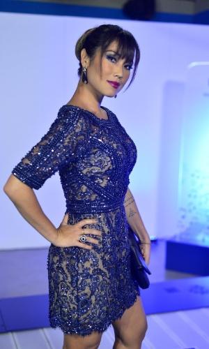3.set.2013 - A atriz Danielle Suzuki chega para a cerimônia de entrega do Prêmio Multishow 2013