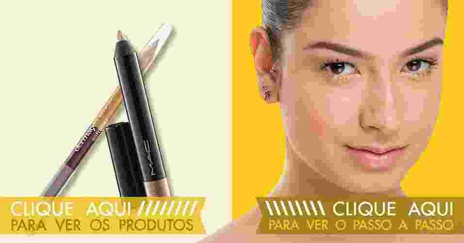 Tutorial: lápis dourado é truque para iluminar o olhar; veja sugestões - Cauê Moreno/Divulgação/ArteUOL Victor Silva