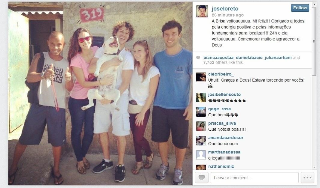 8.set.2013 - 24 horas após uma intensa campanha nas redes sociais, o ator José Loreto encontra Brisa, sua cadela de estimação, uma vira-lara de 3 anos, e comemora publicando uma foto emocionante em seu Instagram