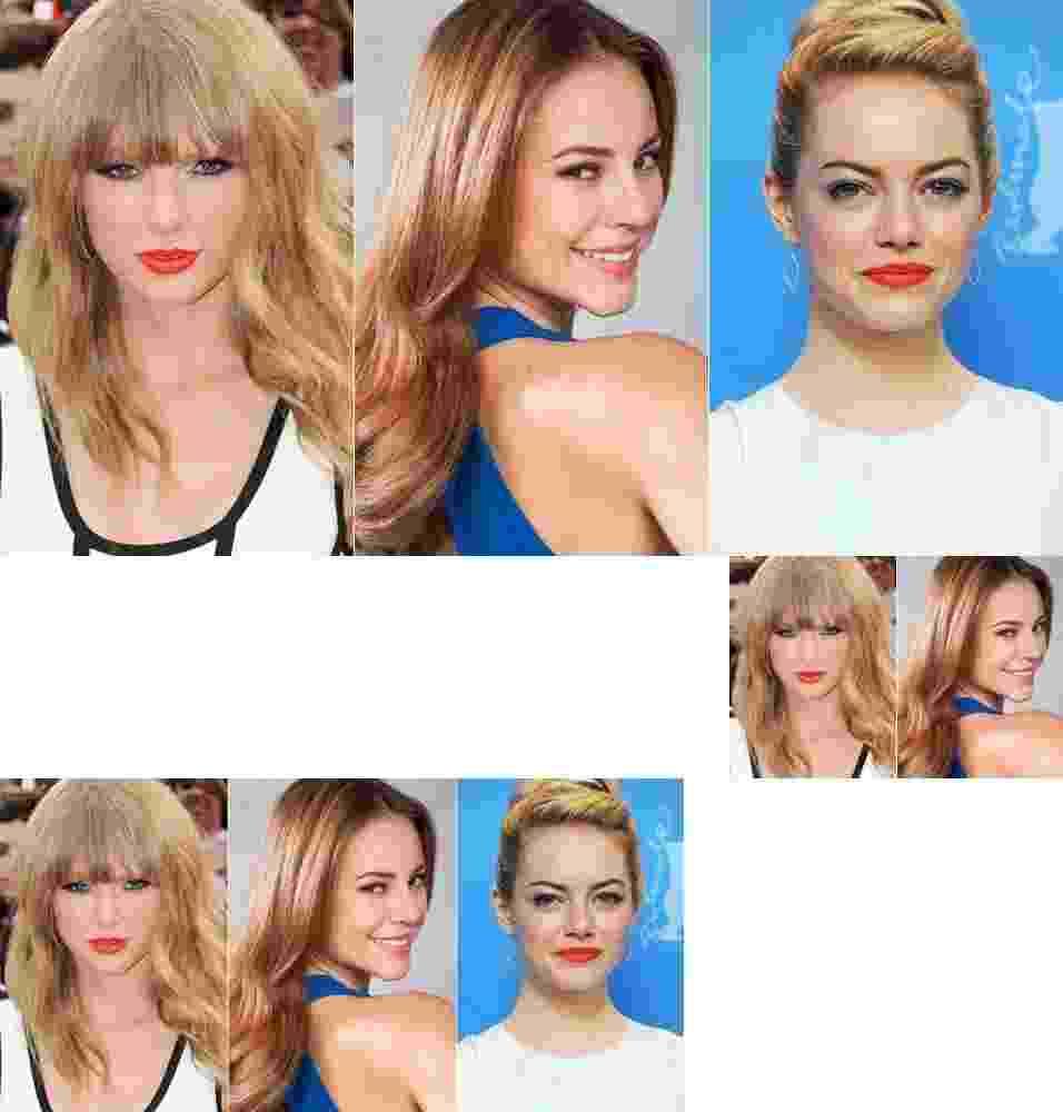 Taylor Swift, Paolla Oliveira, Emma Stone - Getty Images/TV Globo/Montagem/UOL
