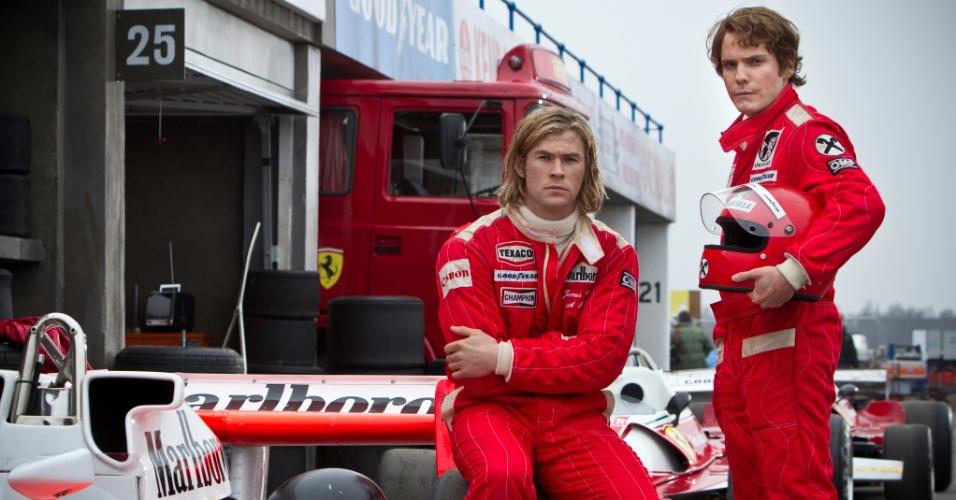 """Cena do filme """"Rush - No Limite da Emoção"""", estrelado por Chris Hemsworth e o astro alemão Daniel Brühl"""