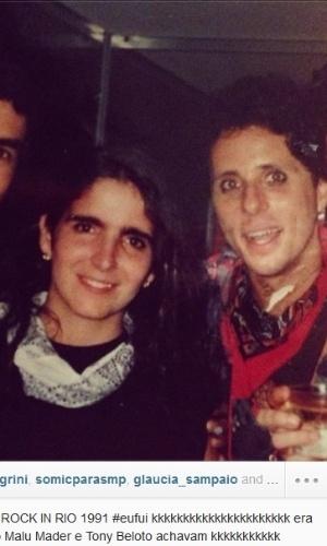 12.set.2013- David Brazil publicou uma foto em que aparece ao lado de Malu Mader e Tony Belloto no Rock in Rio de 1991