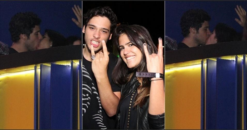 25.set..2011 - Bruno Fagundes, filho de Antonio Fagundes, e Antônia Pires de Morais, filha de Glória Pires, se beijam no camarote do Rock In Rio