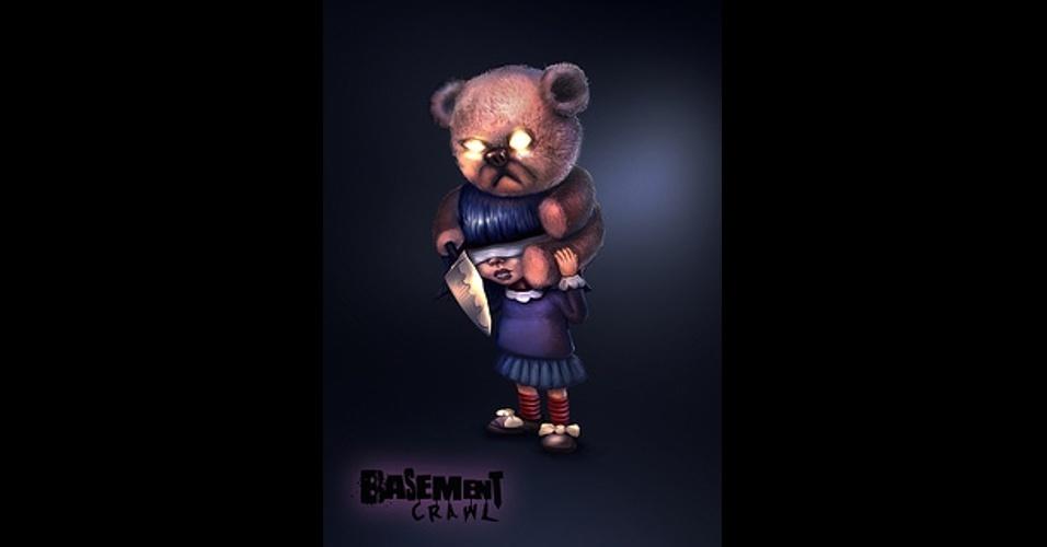 """""""Basement Crawl"""" (exclusivo do PS4) terá modo multiplayer online e local em uma competição para matar seus colegas de porão"""