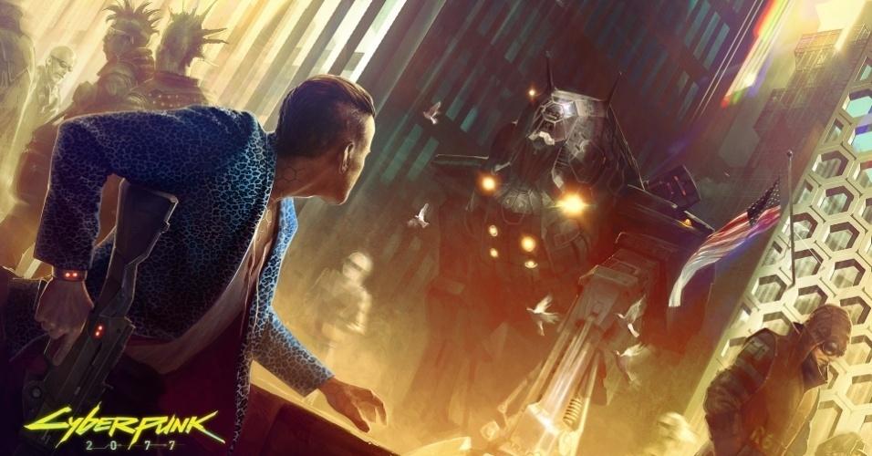 """""""Cyberpunk 2077"""" será RPG de ação situado em futuro distópico controlado pela tecnologia"""