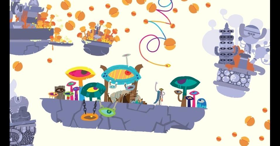 """Em """"Hohokum"""" o jogador controla uma cobra voadora por um colorido mundo, sem limite de tempo ou objetivos definidos"""
