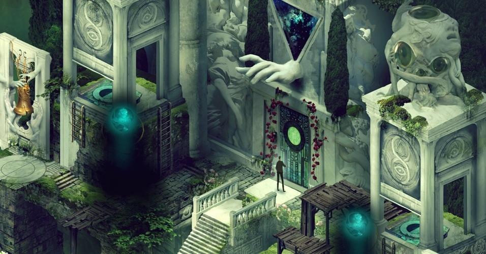 """Em """"Pavilion"""" os jogadores manipulam o ambiente e os sentidos do protagonista"""