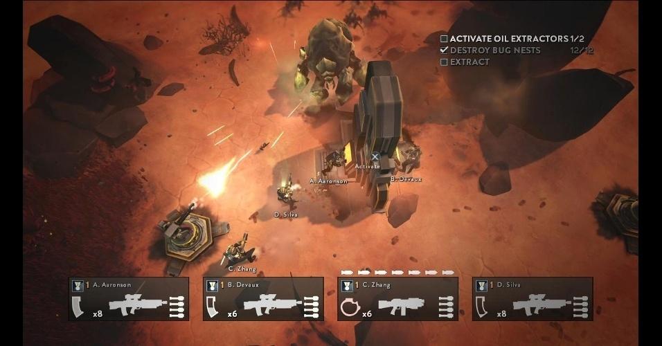 """""""Helldivers"""" é um jogo de tiro e estratégia, com modo cooperativo para até 4 pessoas"""