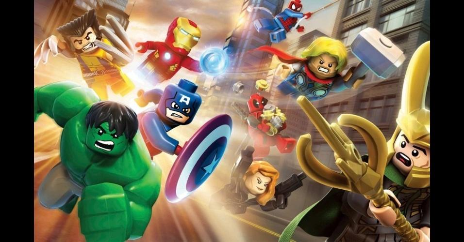 """""""LEGO: Marvel Super Heroes"""" segue os tradicionais e divertidos títulos da franquia, levando mais de 100 personagens Marvel ao jogo"""