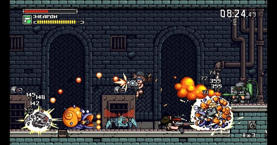 """""""Mercenary Kings"""" é um jogo de tiro em plataforma 2D"""