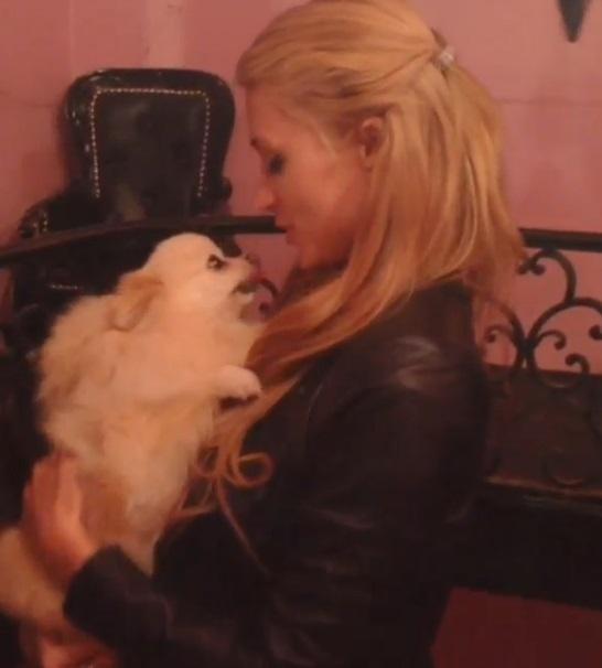 13.set.2013 - Paris Hilton posa com um dos seus cachorrinhos da raça da raça Lulu da Pomerânia