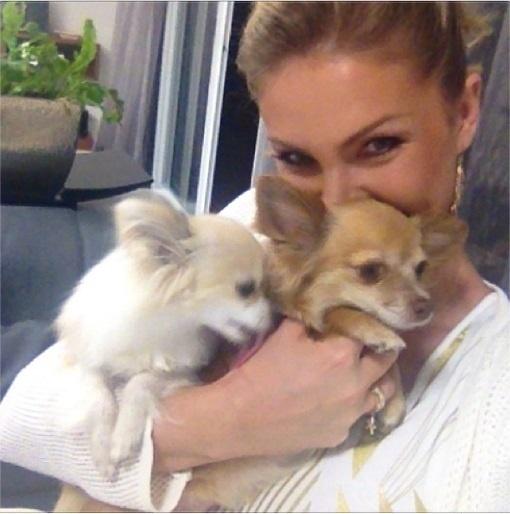 13.set.2013- Ana Hickmann exibe as cadelinhas Penélope e Ramona da raça Lulu da Pomerânia