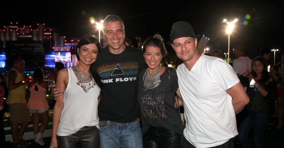 15.set.2013 - Ana Lima, Tico Cardoso, Roberta Fernandes e Marcelo Serrado no Rock in Rio