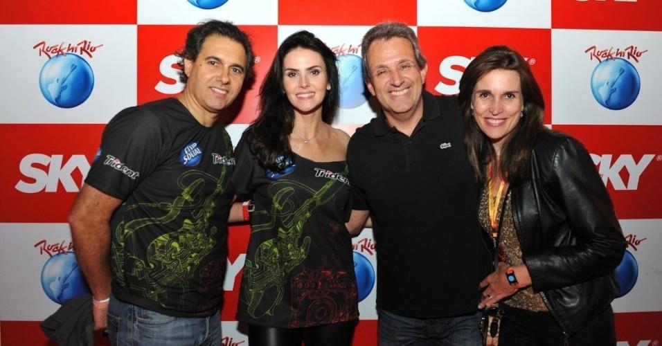 15.set.2013- Lisandra Souto foi com o namorado, o empresário Gustavo Fernandes, ao segundo dia de Rock in Rio