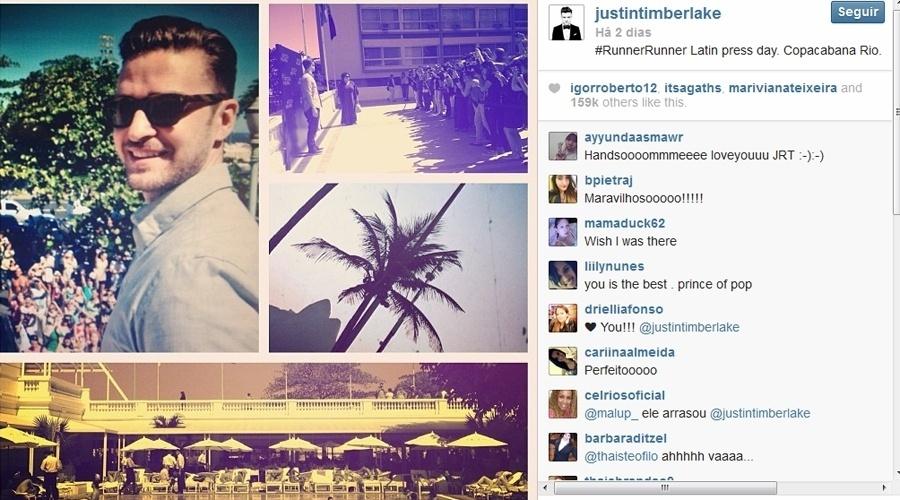 """14.set.2013 - Antes de se apresentar no Rock  in Rio, Justin Timberlake fala com a imprensa brasileira sobre o filme """"Aposta Máxima"""""""