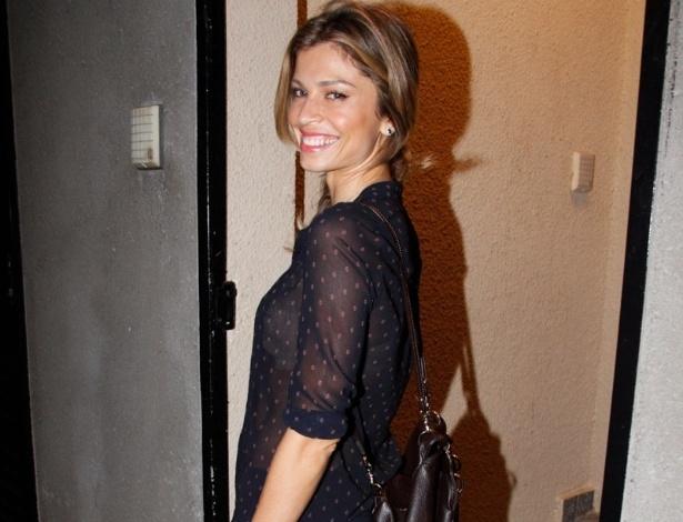 15.set.2013 - Grazi Massafera estava sem o marido, Cauã Reymond, na festa na casa do Faustão