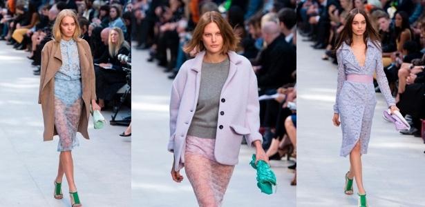 16.set.2013 - Uma das mais importantes marcas de moda de Londres, a Burberry Prorsum apresentou sua coleção de Verão 2014 dominada por cores doces e em tons pastel - Getty Images