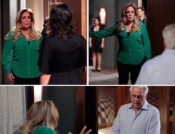 """Em """"Amor à Vida"""", Pilar flagra Aline e César juntos e dá surra na secretária"""