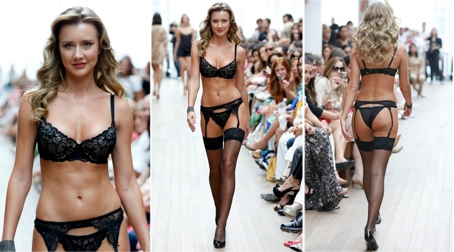 17.set.2013 - Ana Paula Siebert, a nova namorada de Roberto Justus, desfila de lingerie no Rio