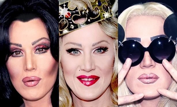 17.set.2013 - O comediante britânico Charlie Hides que interpreta Cher, Madonna e Lady Gaga