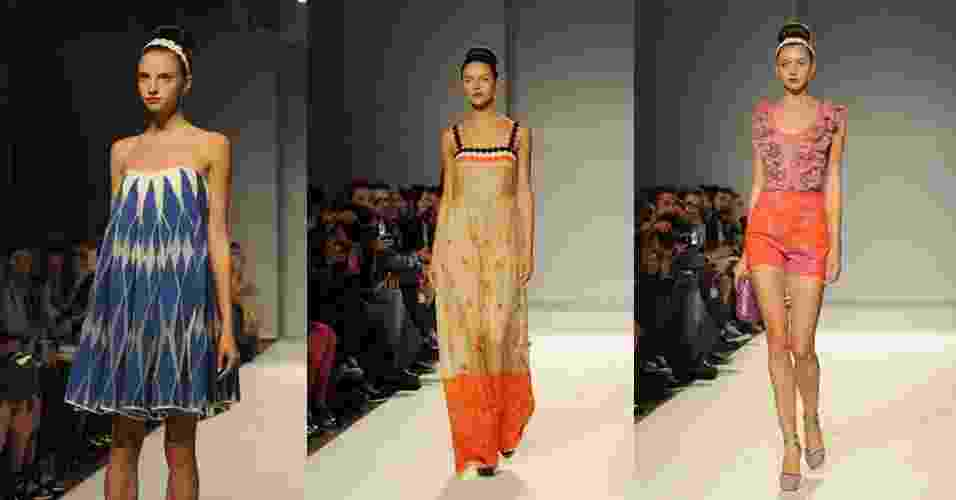 18.set.2013 - A marca Paola Frani abriu a semana de moda de Milão com uma coleção colorida e descomplicada. Os looks evocavam a feminilidade em tonalidades vibrantes como o azul, verde, laranja e rosa - Getty Images
